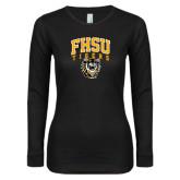 Ladies Black Long Sleeve V Neck Tee-Arched FHSU Tigers w/ Tiger