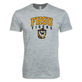 Next Level SoftStyle Heather Grey T Shirt-Arched FHSU Tigers w/ Tiger
