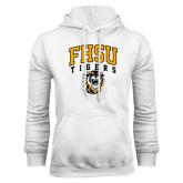 White Fleece Hoodie-Arched FHSU Tigers w/ Tiger