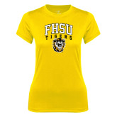 Ladies Syntrel Performance Gold Tee-Arched FHSU Tigers w/ Tiger