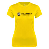 Ladies Syntrel Performance Gold Tee-Fort Hays State University Flat w/ Tiger