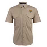 Khaki Short Sleeve Performance Fishing Shirt-Arched FHSU Tigers w/ Tiger
