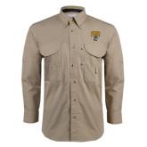 Khaki Long Sleeve Performance Fishing Shirt-Arched FHSU Tigers w/ Tiger