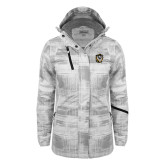 Ladies White Brushstroke Print Insulated Jacket-Victor E. Tiger