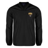 V Neck Black Raglan Windshirt-Arched FHSU Tigers w/ Tiger