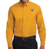 Gold Twill Button Down Long Sleeve-Arched FHSU Tigers w/ Tiger