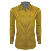 Ladies Gold Twill Button Down Long Sleeve-Victor E. Tiger