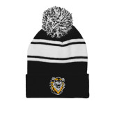 Black/White Two Tone Knit Pom Beanie w/Cuff-Victor E. Tiger