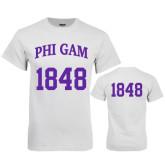 White T Shirt-Phi Gam Tee w/ Number