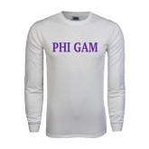 White Long Sleeve T Shirt-Phi Gam