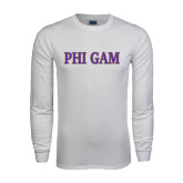 White Long Sleeve T Shirt-Phi Gam Two Color