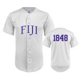 Replica White Adult Baseball Jersey-Arched FIJI