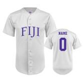 Replica White Adult Baseball Jersey-Arched FIJI Personalized