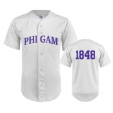 Replica White Adult Baseball Jersey-Arched Phi Gam