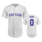 Replica White Adult Baseball Jersey-Arched Phi Gam Personalized
