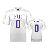 Replica White Adult Football Jersey-Arched FIJI Personalized