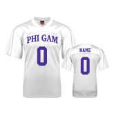 Replica White Adult Football Jersey-Arched Phi Gam Personalized