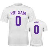 Performance White Tee-Phi Gam Custom Tee w/ Name & Number
