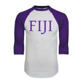 White/Purple Raglan Baseball T Shirt-FIJI