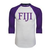 White/Purple Raglan Baseball T Shirt-FIJI Two Color