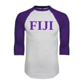 White/Purple Raglan Baseball T Shirt-FIJI Contemporary