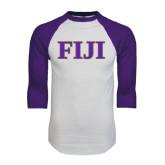 White/Purple Raglan Baseball T Shirt-FIJI Contemporary Two Color