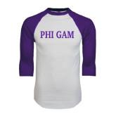 White/Purple Raglan Baseball T Shirt-Phi Gam