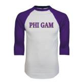 White/Purple Raglan Baseball T Shirt-Phi Gam Two Color