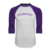 White/Purple Raglan Baseball T Shirt-Arched Phi Gamma Delta