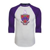 White/Purple Raglan Baseball T Shirt-Crest