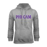 Grey Fleece Hoodie-Phi Gam