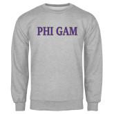 Grey Fleece Crew-Phi Gam Two Color