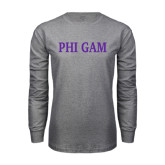 Grey Long Sleeve T Shirt-Phi Gam