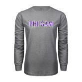Grey Long Sleeve T Shirt-Phi Gam Two Color