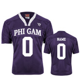 Replica Purple Adult Lacrosse Jersey-Arched Phi Gam Personalized