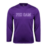 Performance Purple Longsleeve Shirt-Phi Gam Two Color