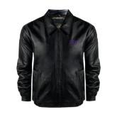Black Leather Bomber Jacket-FIJI