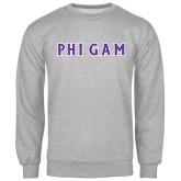Grey Fleece Crew-Phi Gam Tackle Twill