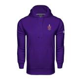 Under Armour Purple Performance Sweats Team Hoodie-Crest