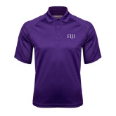 Purple Textured Saddle Shoulder Polo-FIJI