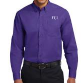 Purple Twill Button Down Long Sleeve-FIJI