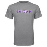 Grey T Shirt-Phi Gam Tackle Twill