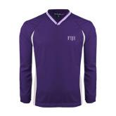 Colorblock V Neck Purple/White Raglan Windshirt-FIJI