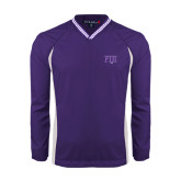 Colorblock V Neck Purple/White Raglan Windshirt-FIJI Two Color
