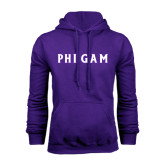 Purple Fleece Hoodie-Phi Gam Tackle Twill