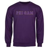 Purple Fleece Crew-Phi Gam Tackle Twill