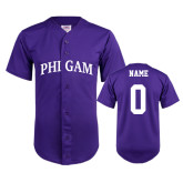 Replica Purple Adult Baseball Jersey-Arched Phi Gam Personalized