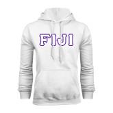 White Fleece Hoodie-FIJI Tackle Twill