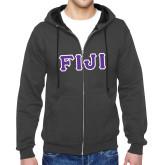 Charcoal Fleece Full Zip Hoodie-FIJI Tackle Twill