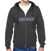 Charcoal Fleece Full Zip Hoodie-Phi Gam Tackle Twill